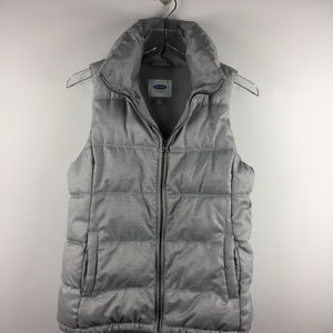 Old Navy textured heather gray puffer vest. Size S